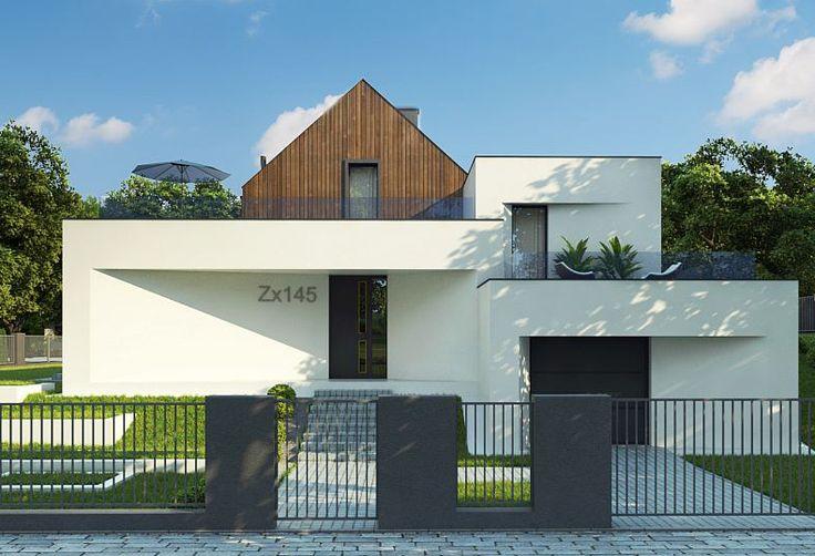 Projekt Zx145. Zx145 jest propozycją domu , z półpiętrami i poddaszem użytkowym, tradycyjnym dachem dwusp...