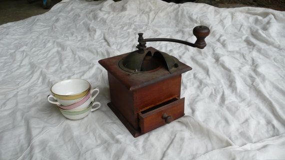 Vintage coffee grinder, mill, wooden, france, bistro, cafe, paris. country farmhouse, French vintage finds by ancienesthetique