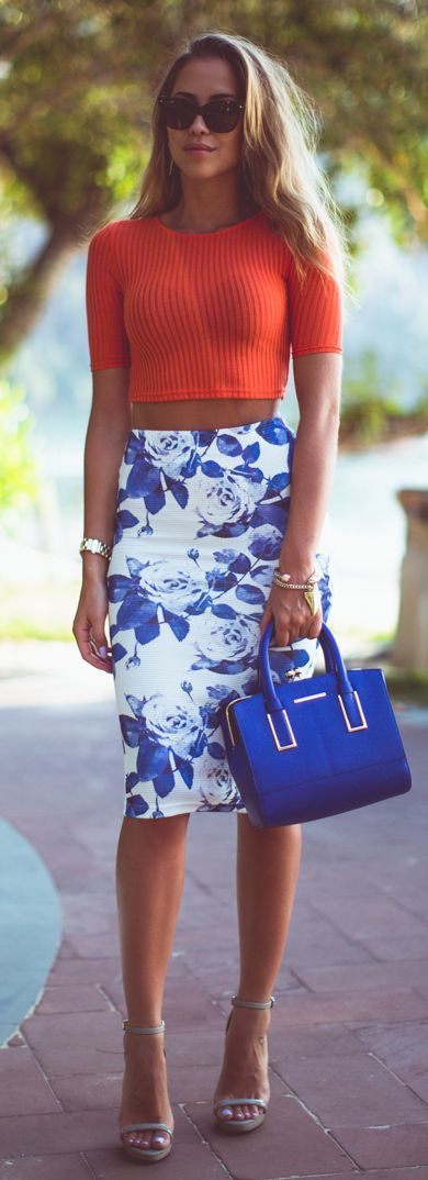@roressclothes closet ideas #women fashion outfit #clothing style apparel orange crop top, floral white skirt