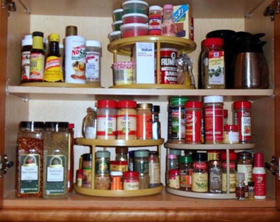Carousel spice racks are modern kitchen accessories for for Carousel spice racks for kitchen cabinets