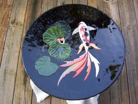 84 best koi in glass images on pinterest stained glass for Koi pool table