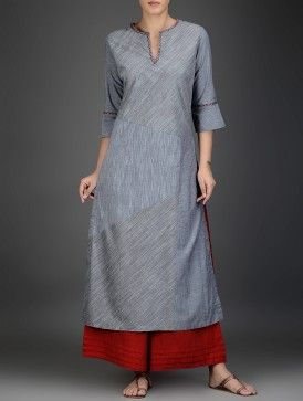 Grey-Red Cotton Chambray Kurta with Embroidered Neckline