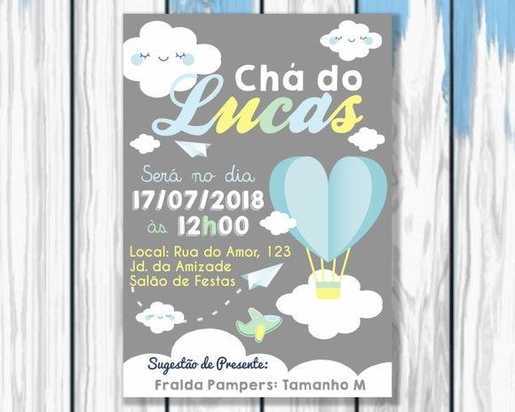 Convite Balão de Ar Avião Cha de Fraldas Impresso