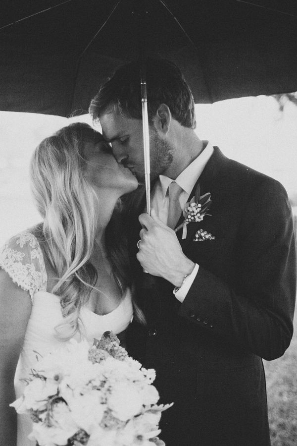 Bride and groom on a rainy wedding day. Makes for the best photos!