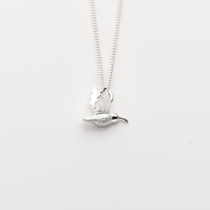 Sterling silver mini hummingbird pendant