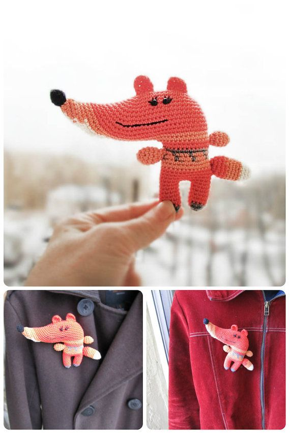 Fox, crochet toy, soft toy, fox brooch, amigurumi, orange fox, red fox, handmade, miniature fox, children gift, cute gift fox, handmade doll