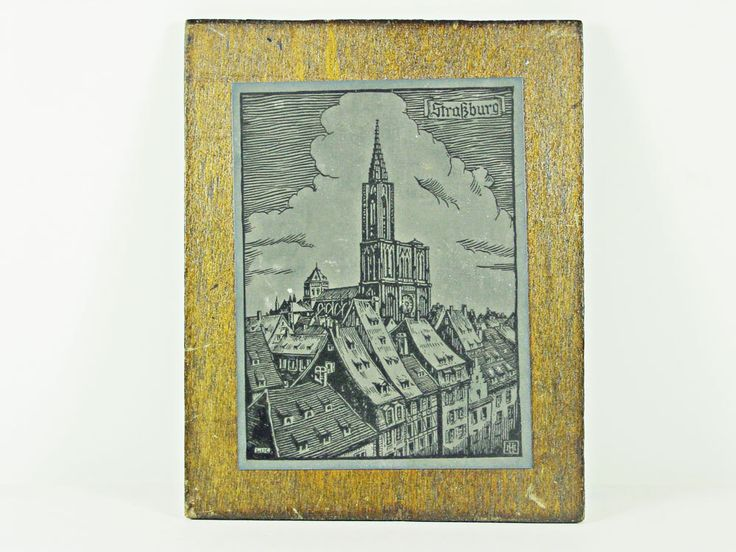 Metal Carved Art Image of Strasburg Germany Cathedral Mounted on Plywood Block by PapasAtticTreasures on Etsy