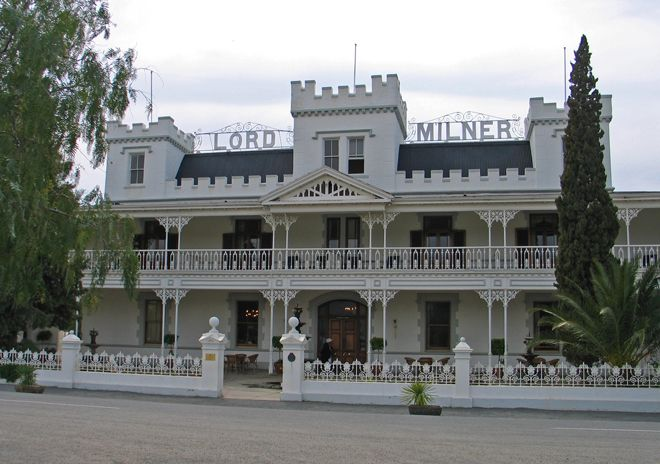 (South Africa) Lord Milner Hotel, Matjiesfontein, Karoo This majestic Victorian hotel was built in 1899 by James Logan during the Anglo Boer War. He may be buried 10 kilometres away, but his presence is felt in the hotel's lounge areas. Another ghost, Lucy, roams the first floor in her nightgown, but perhaps the best-known spirit is Kate, a Boer War nurse who played cards with her patients. She's sometimes seen staring from the turrets and the sou