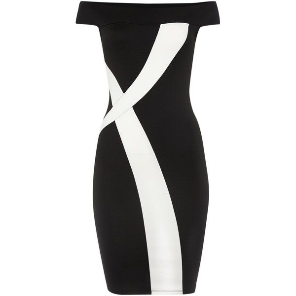 Jessica Wright Off Shoulder Monochrome Bodycon Dress (£33) ❤ liked on Polyvore featuring dresses, clearance, strapless bodycon dress, jessica wright dress, strapless cocktail dress, sleeveless cocktail dress and off the shoulder dress