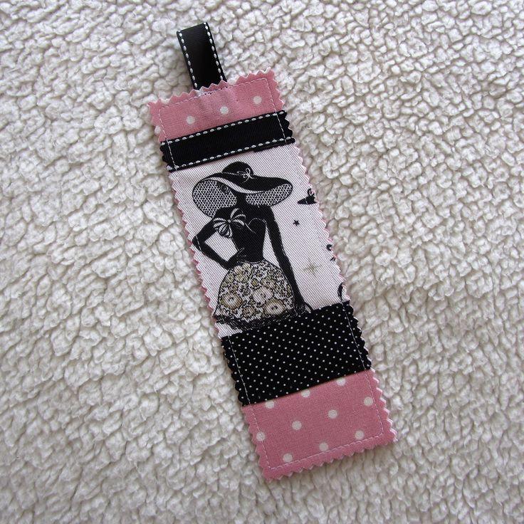 """Marque-pages N°25 """"la parisienne"""" rétro chic en tissus à pois en noir et rose : Marque-pages par nymeria-creation"""