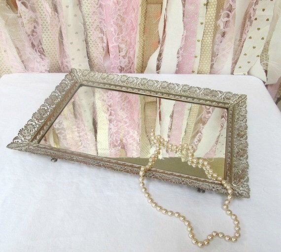 Vanity Makeup Mirror Mirrored Tray Boudoir, Vintage Antique Baby Nursery Decor Bathroom, Bridal Baby Shower Decor White Patina by OnceUponaTimeFinds on Etsy https://www.etsy.com/listing/209500495/vanity-makeup-mirror-mirrored-tray