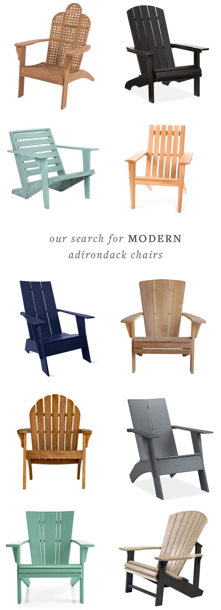 our search for modern adirondack chairs, the perfect addition for summertime entertaining on the deck or patio. via jojotastic, jojotastic.com