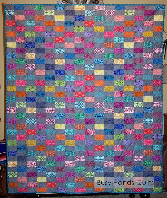 Busy Hands Quilts: True Colors Brick Lap Quilt | Finished or Not Friday Linky Party!