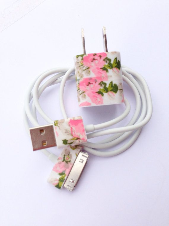 iphone charger (customized glitter charger with floral design)