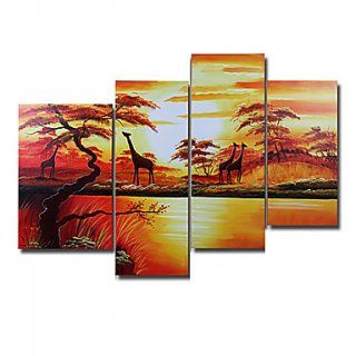 Hand-painted Landscape Oil Painting with Stretched Frame - Set o