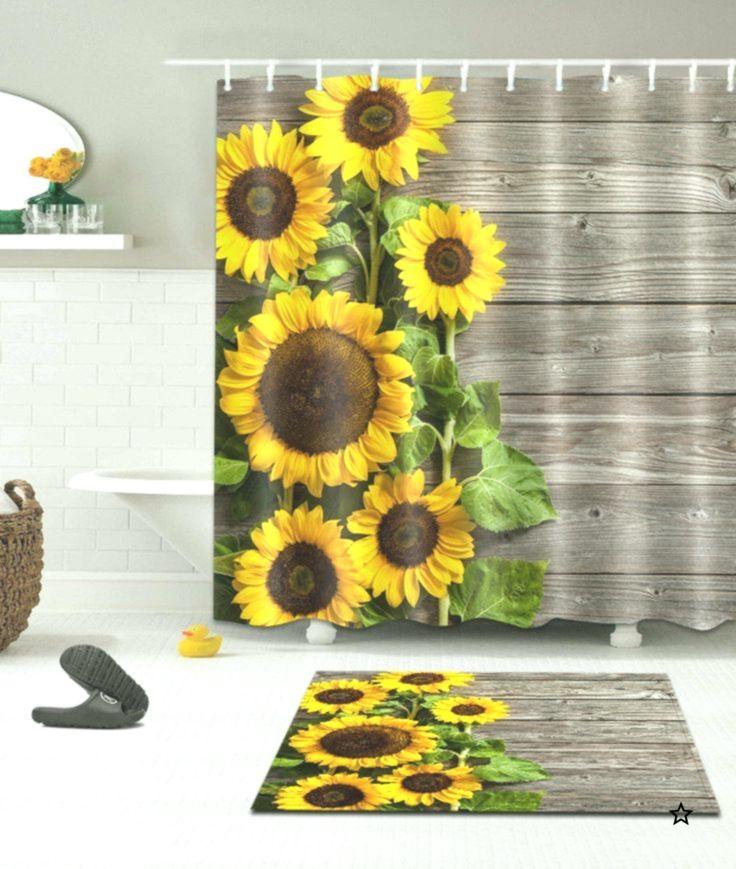 71 Sun Sunflower Fabric Shower Curtain Set Bathroom Curtains