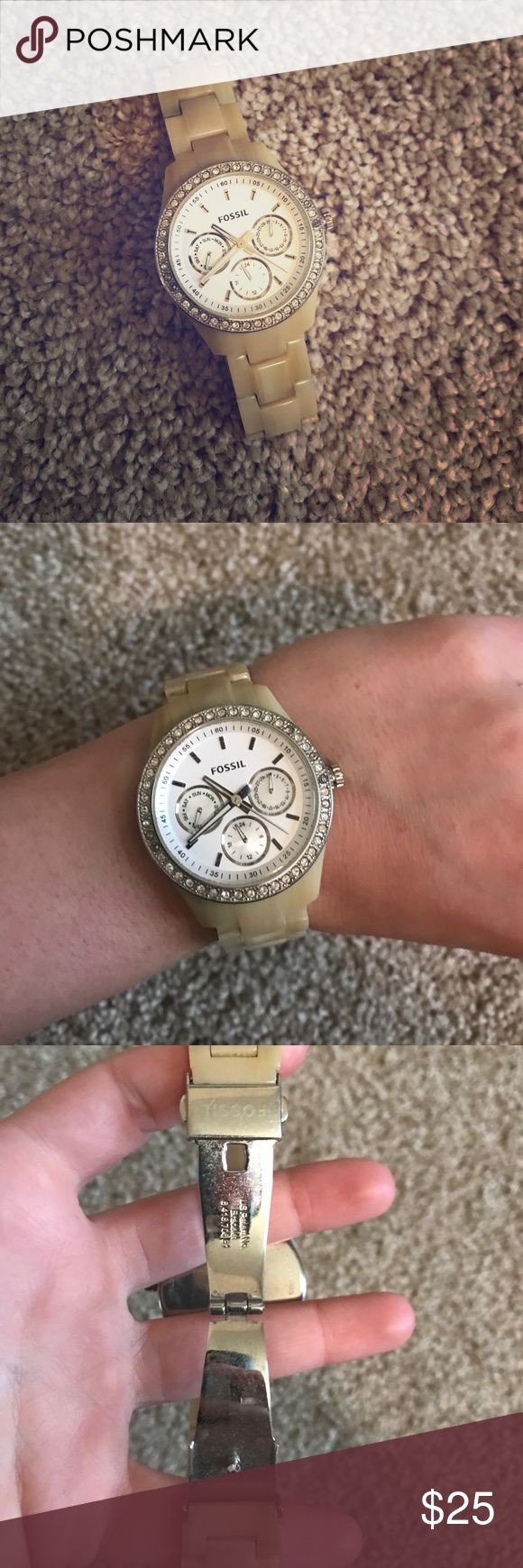 Fossil Cream Horn Watch Great used condition (needs a battery replacement). Hardware has some signs of wear as shown in photos, but no scratches on face or chain. Beautiful! Fossil Jewelry