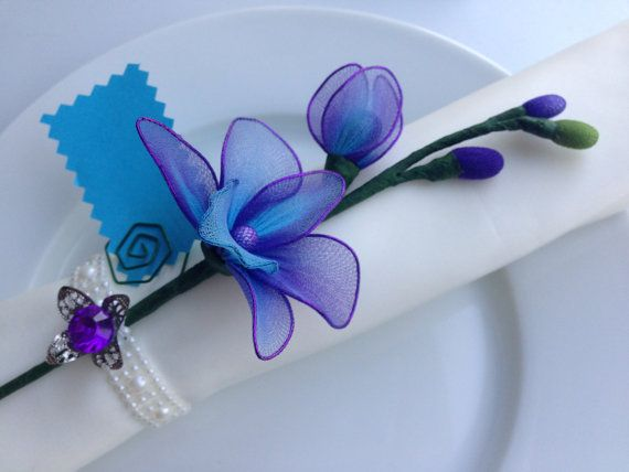 Purple and blue Dendrobium orchid nylon flower napkin ring, wedding favors/ mother's d... $3.25