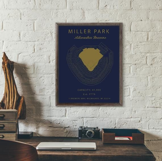Miller Park Seating Chart Milwaukee Brewers Milwaukee Etsy