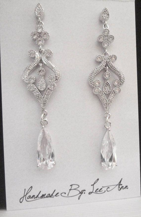 Brides earrings Long cubic zirconia earrings Lux Vintage