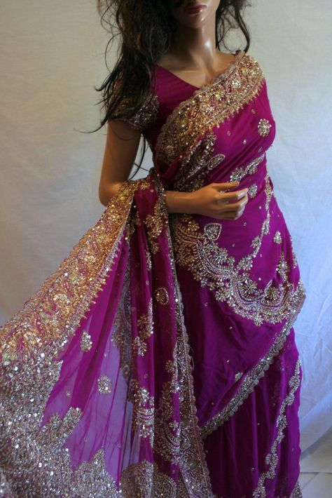 Heavy Magenta Sari with Blouse (Ref. 2107), Indian Fashion – Saris, Lehengas, Salwar Kameez, Kurtas, Indian Jewelry: Didi's Wardrobe