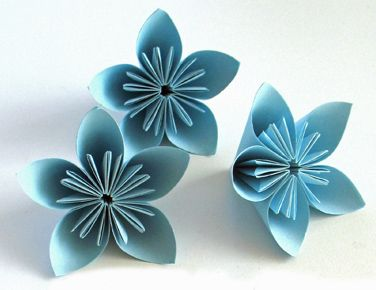 Fleurs Origami, Fleur Papier, Bleues Papier, Papier Découpage, Fleurs Expo, Fleurs Découpage, Fleurs Bleues, Pliages, Fleur Recherche