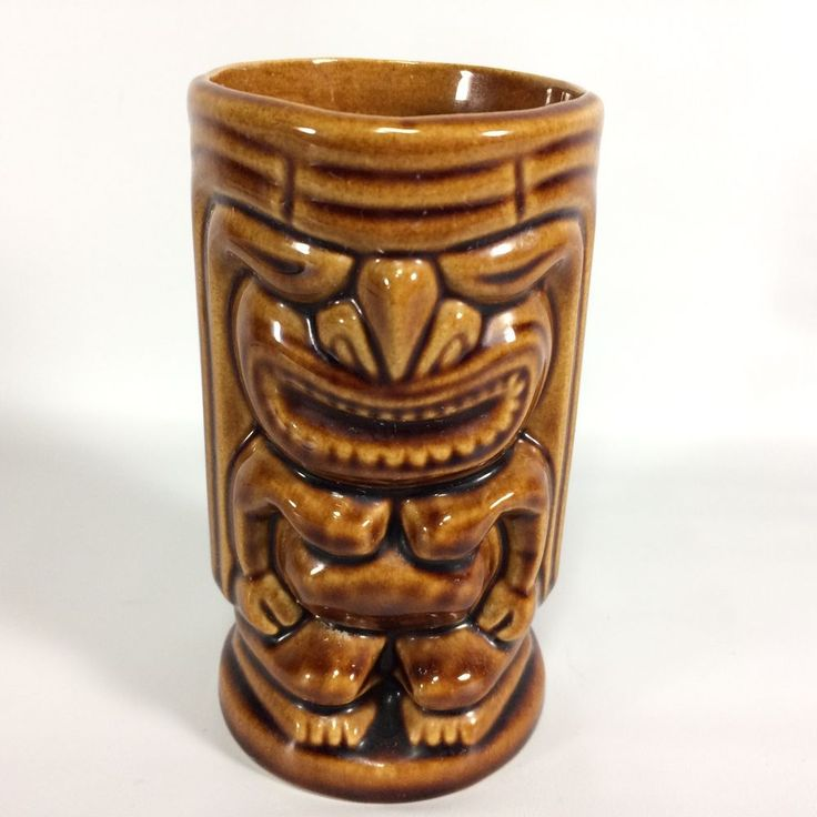 Tiki Mug Cup Vase Leilani Unmarked Brown Double Sized 5""