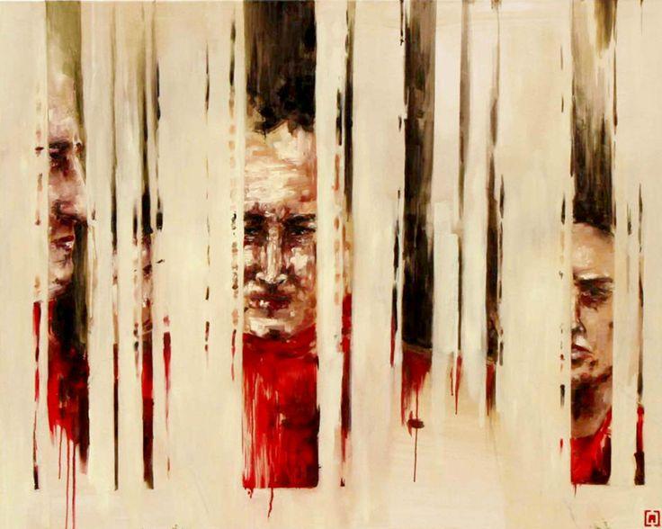''Narkolepsja miejsc publicznych'' Angelika Korzeniowska, olej na płótnie, 110 x130, 2013 r