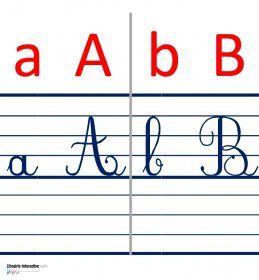 Une frise murale avec l'alphabet en script et en cursif (majuscules et…