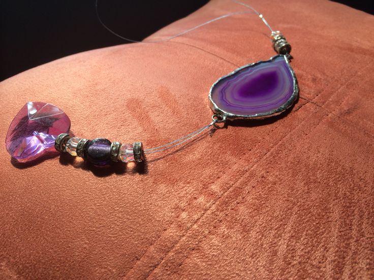 Agate slice wrapped in copper foil and soldered