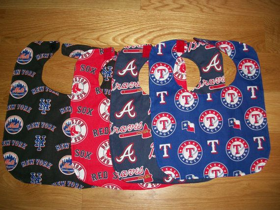 Baby bib with velcro closure. Makes a great gift. Choose Atlanta Braves, Boston Red Sox, New York Mets or Texas Rangers)  This product is handmade and not an officially licensed product of the NFL, MLB, NHL or any other professional organization.