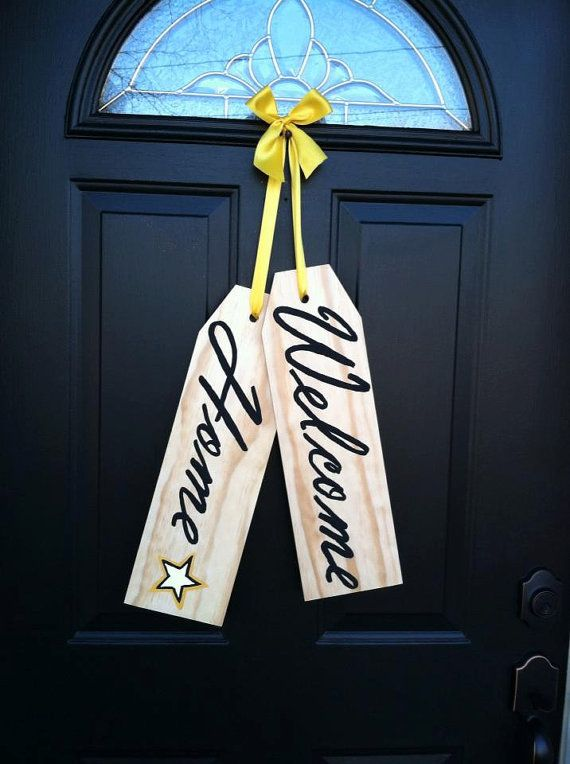 AWESOME way to welcome home your loved one! Soldier Welcome Home Door Tag by TaggedWithLove1 on Etsy, $30.00