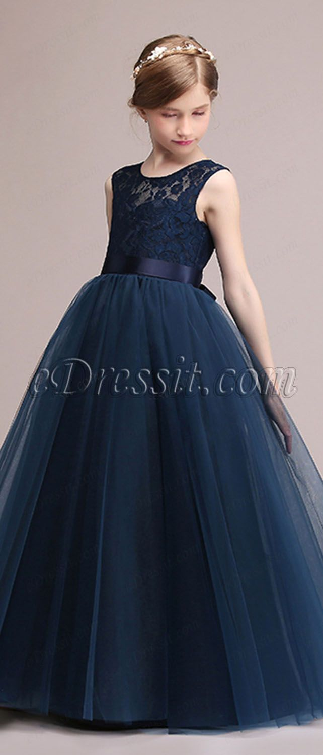 ebf443954 blue a-line dress ball gown lace dress flower girl dress for wedding and  prom $ 59.99 only