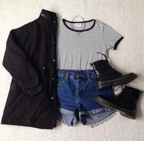 2. Stripe patterned crop top, high-waisted jean shorts, a black over-shirt, and black combat boots
