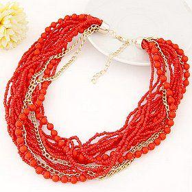 Многослойное ожерелье из цепочек, бисера и бусин