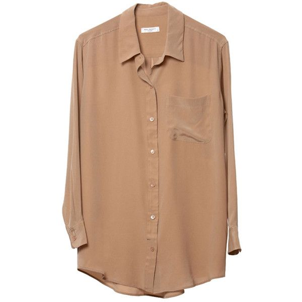 Equipment Daddy in Camel ($360) ❤ liked on Polyvore featuring tops, blouses, shirts, bluzki, women, button shirts, shirts & blouses, longsleeve shirts, silk blouses and equipment shirts