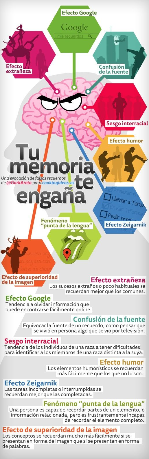 Tu memoria te engaña #infografia #infographic #education #psychology