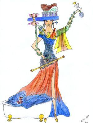 Богиня Гигиены (The Goddess Of Hygiene) Мой эскиз/My sketch  #fashion #Style #мода #design #designer #дизайнер #стиль #Goddess