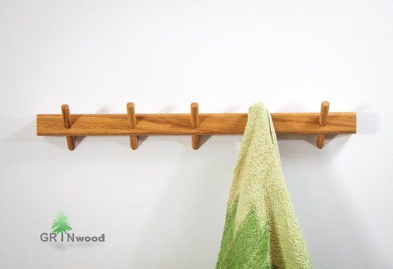 Bathroom Towel Rack Wooden Pegs Towel Hanger Kitchen Wall Towel Rack Bathroom Storage Wall Mount Wooden Towel Hooks