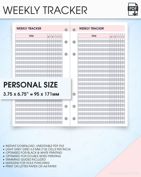 Weekly Tracker Filofax Personal Size Planner Inserts Wo1p Habit