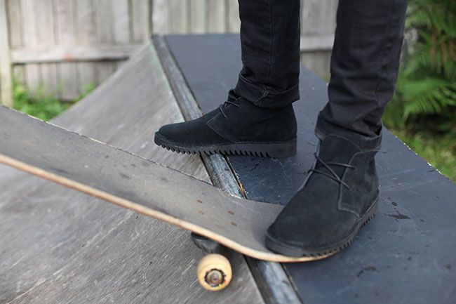 ::: SULTAN II ::: Black soft-suede leather desert boots with chunky rubber ripple soles. $119.95 http://www.urgefootwear.com.au/mens-shoes-online/sultan-black-suede