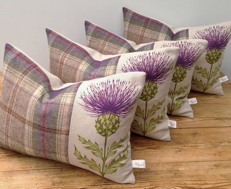 Scottish Thistle Cushion, Handmade, Voyage Blair Linen/Cotton Blend in Damson, Pure Highland Wool, Tartan, Plaid, British Countryside by MabelandMeEtsyShop on Etsy https://www.etsy.com/listing/454870208/scottish-thistle-cushion-handmade-voyage