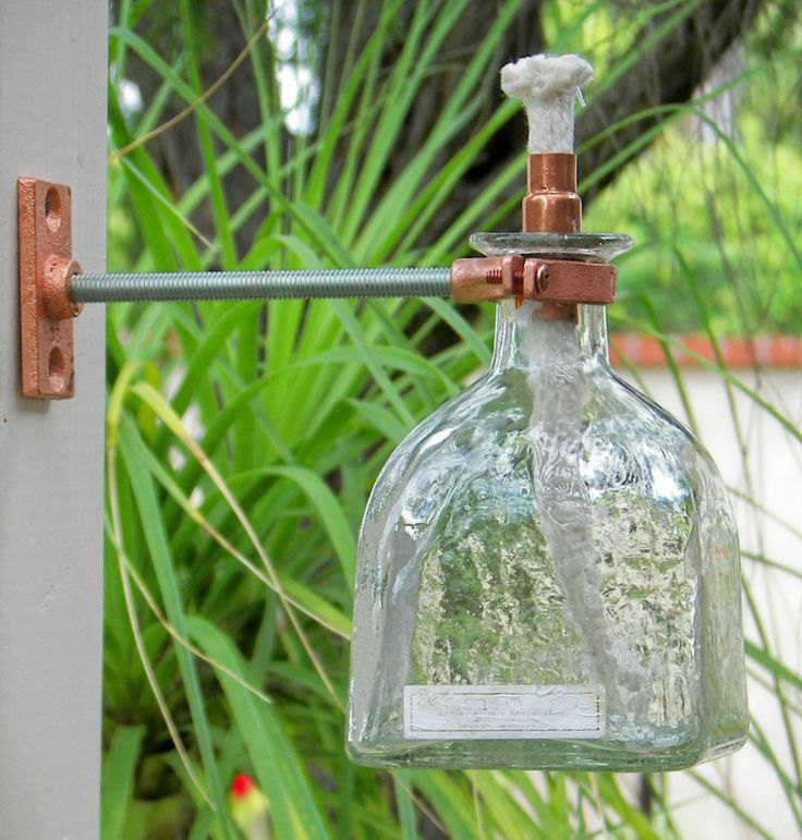 Hanging Tiki Torch Oil Lamp Vase Patron Tequila Recycled Empty Bottle Great Gift | eBay