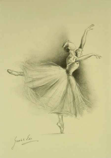 ORIGINAL pencil drawing 11 x 8 1/4 of BALLERINA by by EwaGawlik