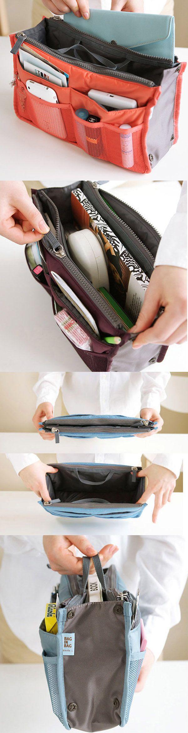 [ONLY US$5] Women Travel Insert Handbag,Nylon Large Liner Organizer Tidy Bag,Cosmetic Bag