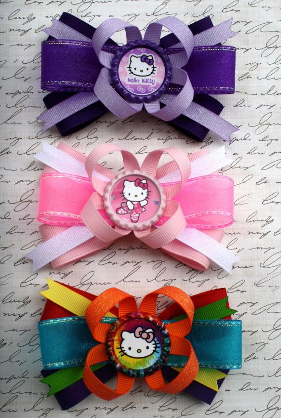 "4"" Boutique Bottlecap Stacked Hair Bow / Hello Kitty Pink/ Purple/ or Tie Dye/Rainbow by #LaPrincesseBows on Etsy / Hello Kitty Birthday Party Favors"