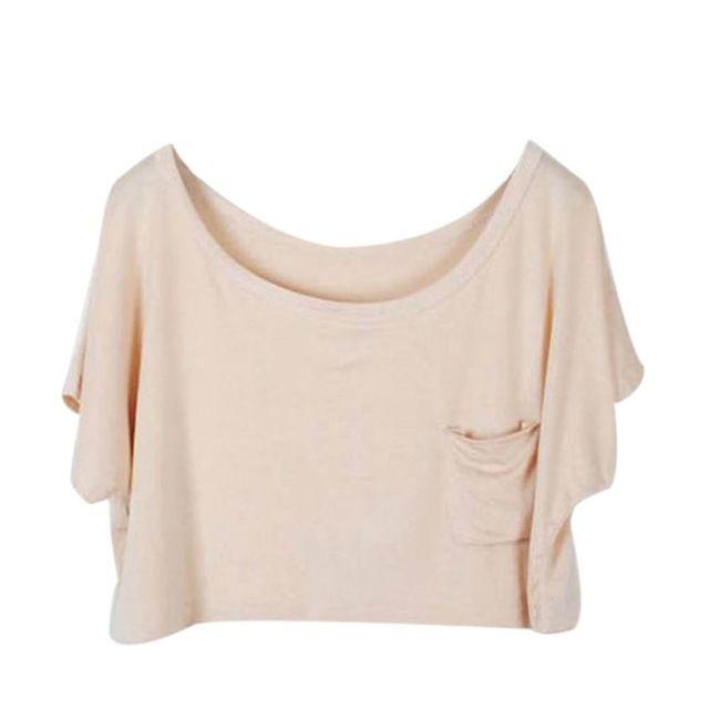 Mujeres Modal Flojo Ocasional Del Color Del Caramelo Batwing Sleeve T-Shirt Camisa corta