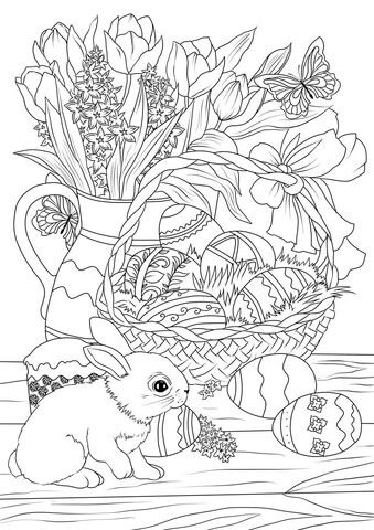Easter Basket Decorated with Eggs, Flowers, Bunny and Pastry Coloring page