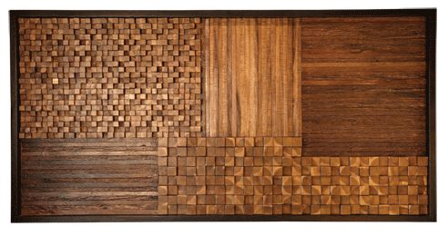 Wood Mosaic Wall Art made from wood scraps. Could be a neat headboard