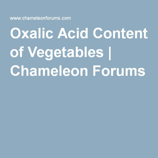 A list of Vegetables with Oxalic Acid Content - in order of potency from parsley (1.7g/100g) down to mint (0.01g/100g)  Vegetables containing oxalic acid are rich with calcium and a number of minerals (magnesium, iron, sodium and potassium).  Though growing conditions will affect the amounts of oxalic acids found.  Research shows that oxalic acid interferes with the absorption of these nutrients but their levels are so high that they are normally still provide higher than other vegetables.